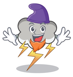 Elf thunder cloud character cartoon vector