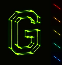 EPS10 glowing wireframe letter G - easy to change vector image vector image