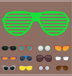 Fashion set sunglasses accessory sun spectacles vector