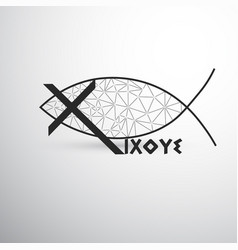 Geometric christian fish cross and ixoye vector