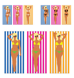 girl blonde in bikini on towel set vector image