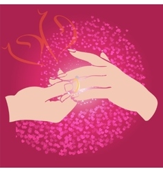 Groom puts the ring on the bride hand vector