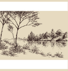 Hand drawn artistic landscape river banks trees vector