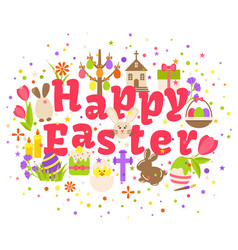 Happy easter label isolated on white background vector