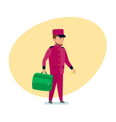 hotel employee helps to transfer luggage to room vector image
