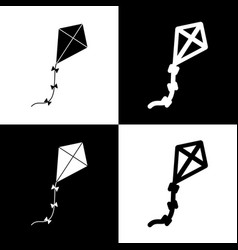 Kite sign black and white icons and line vector