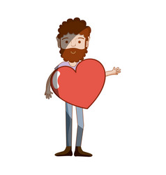 Man with beard and heart in the chest vector
