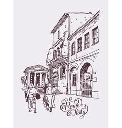 Original digital drawing of rome street italy vector