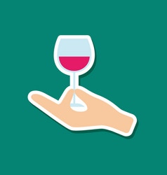 paper sticker on stylish background glass of wine vector image