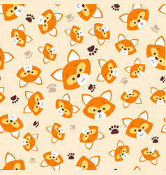 pattern with face fox vector image