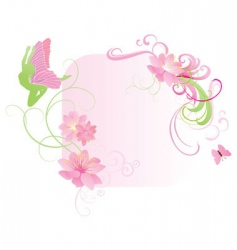 pink fairy and flowers vector image