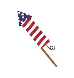 Rocket fireworks lights independence day vector