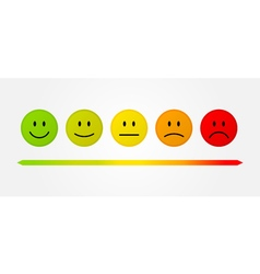 Set 5 faces scale - smile neutral sad - isolated vector