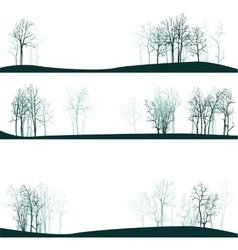 set of different landscapes with winter trees vector image vector image