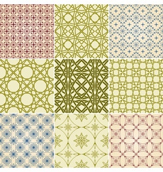 set of nine seamless patterns vector image vector image