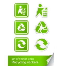 Set recycling sign icon sticker vector