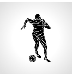 Soccer player kicks the ball black silhouette vector