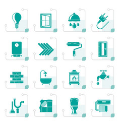 stylized construction and home renovation icons vector image vector image