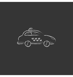 Taxi car drawn in chalk icon vector