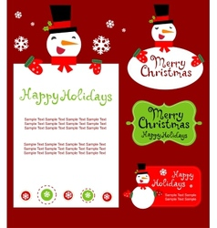 Templates for Christmas greeting card gift tag vector image