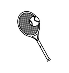 Tennis racket and ball sport equipment line vector