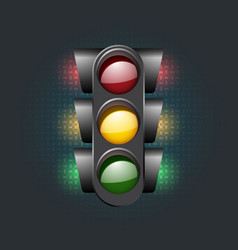 Traffic light icon on the black background vector