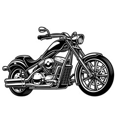 Vintage monochrome motorcycle on white bakcground vector