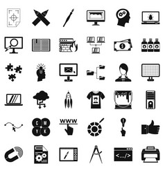 Web designer icons set simple style vector