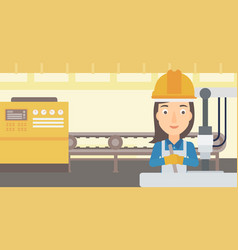 Woman working with industrial equipment vector
