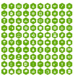 100 coffee cup icons hexagon green vector