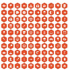 100 research icons hexagon orange vector