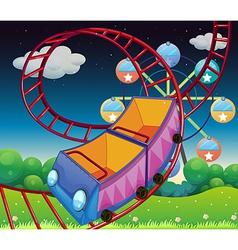 A roller coaster ride at the carnival vector
