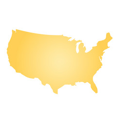 Yellow radial gradient silhouette map of united vector