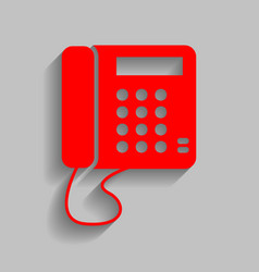 Communication or phone sign  red icon with vector