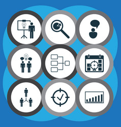 set of 9 management icons includes opinion vector image