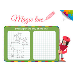 Draw a picture only of one line deer vector
