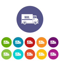 mail truck icons set flat vector image