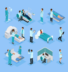Isometric doctors and patients set vector