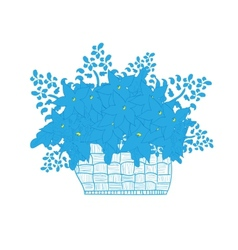 Wicker basket full of flowers daisies vector