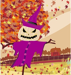Halloween scarecrow autumn rural landscape vector