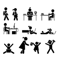 School days Pictogram icon set School children vector image