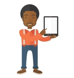 Black guy holding a digital tablet vector