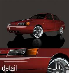 red shiny car vector image