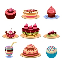 Bright cakes and dessert icons set vector