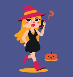 Cute witch talking on the phone vector