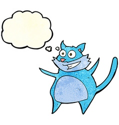 Funny cartoon cat with thought bubble vector