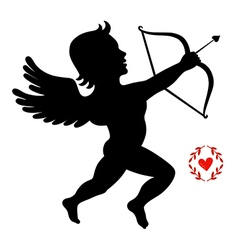 Cupid takes aim isolated on white vector