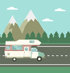 Traveler truck on the road on countryside vector