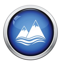 Snow peaks cliff on sea icon vector