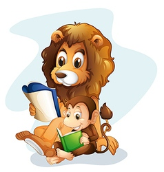 A monkey and a lion reading books vector image vector image